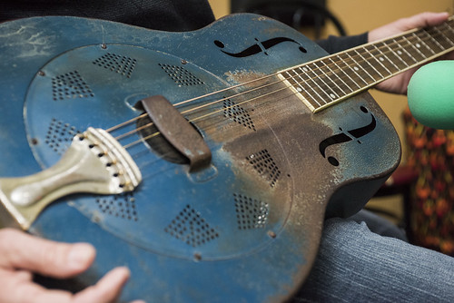 Seva Venet's National dobro guitar, purchased from Augie Jr. of Big Mess Band  at WWOZ's 38th birthday - 12.4.18. Photo by Ryan Hodgson-Rigsbee rhrphoto.com
