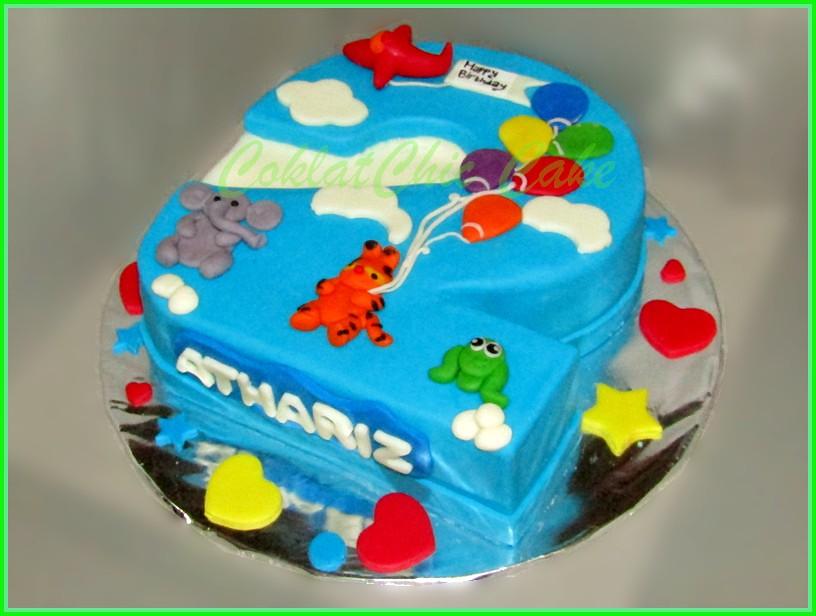 Cake angka 2 Animal ATHARIZ 15 cm