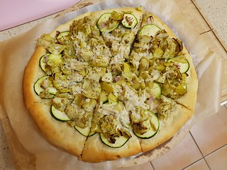 Pizza with Zucchini, Artichokes, and Soy Mozarella