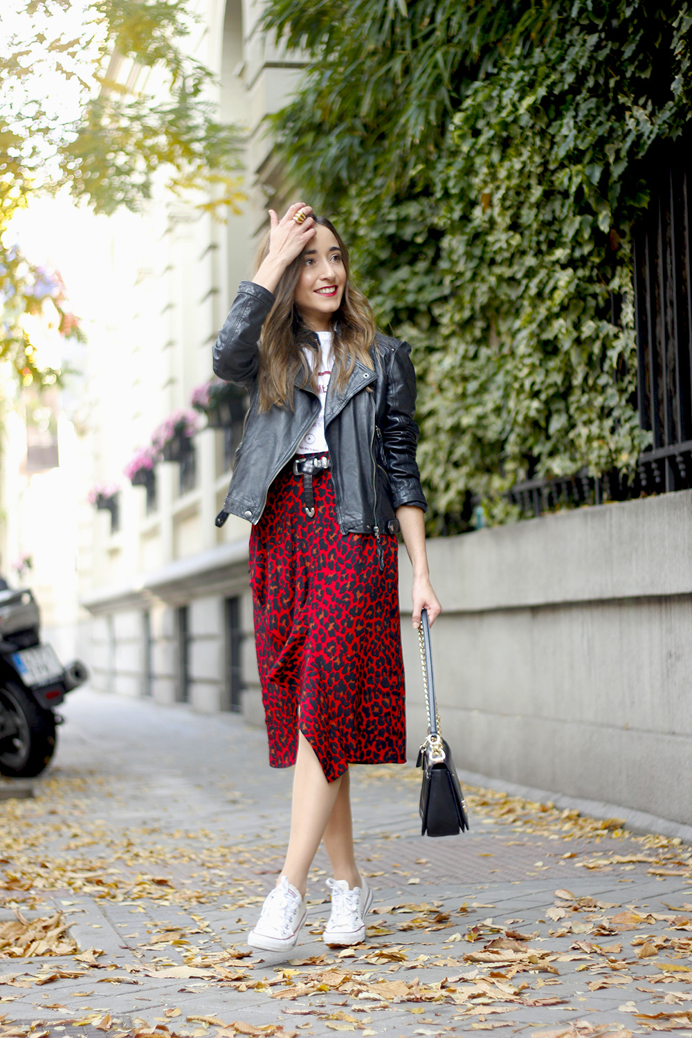 midi skirt red leopard print trend black biker jacket converse street style fall outfit 20186056