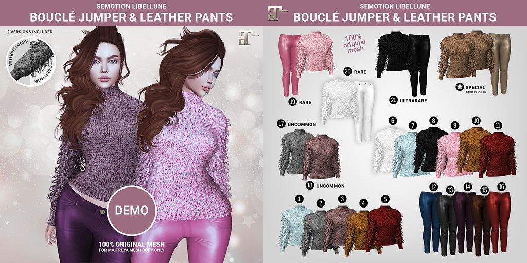 Libellune Bouclé Jumper and Leather Pants Gacha Set @ Cosmopolitan