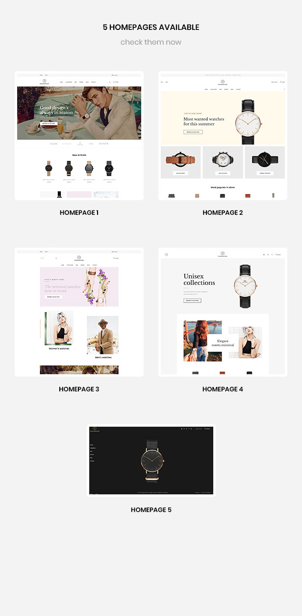 multiple homepages for  hand watch, clothing, fashion, accessories