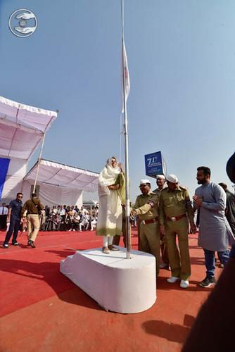 Satguru Mata Sudiksha Ji Maharaj hoisting the Flag
