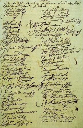 Documento fechado en 1618 que recoge las firmas de los primeros frailes de Gilitos, solemnizando su acatamiento al dogma de la Purísima Concepción. Colección de M. Maroto.