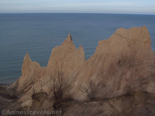 One ridge of the formations from the cliff above Chimney Bluffs State Park, New York