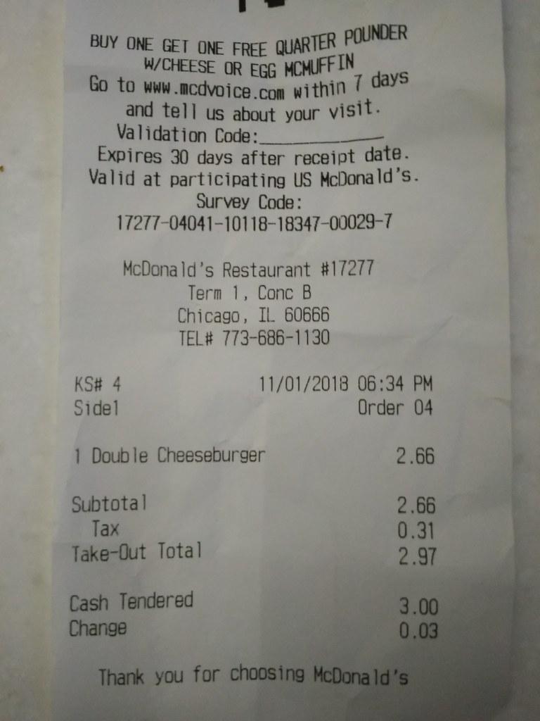 麦当劳收银条