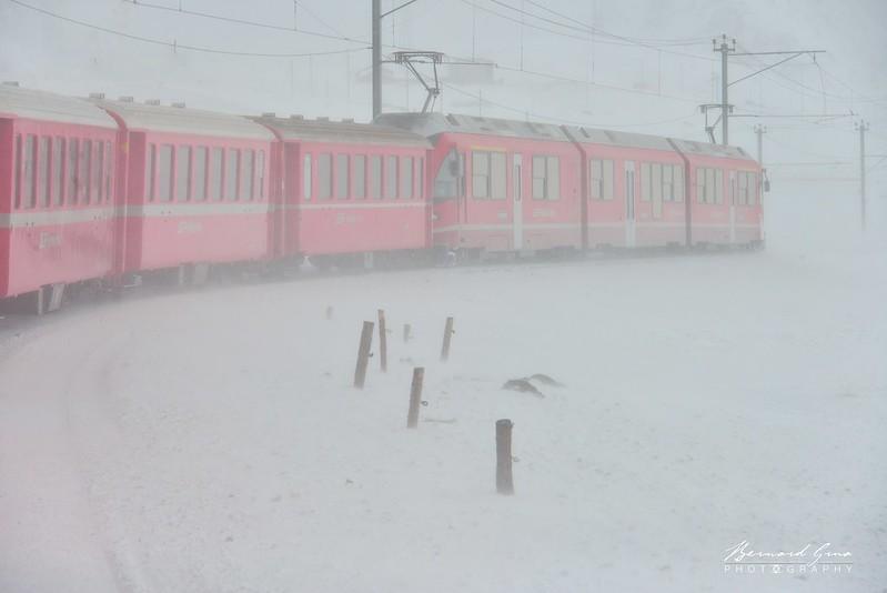 Blizzard du Lac Blanc vers le col de la Bernina ,  Bernina Express, Glacier Express par  Bernard Grua - Rhätische Bahn, Chemins de fer rhétiques