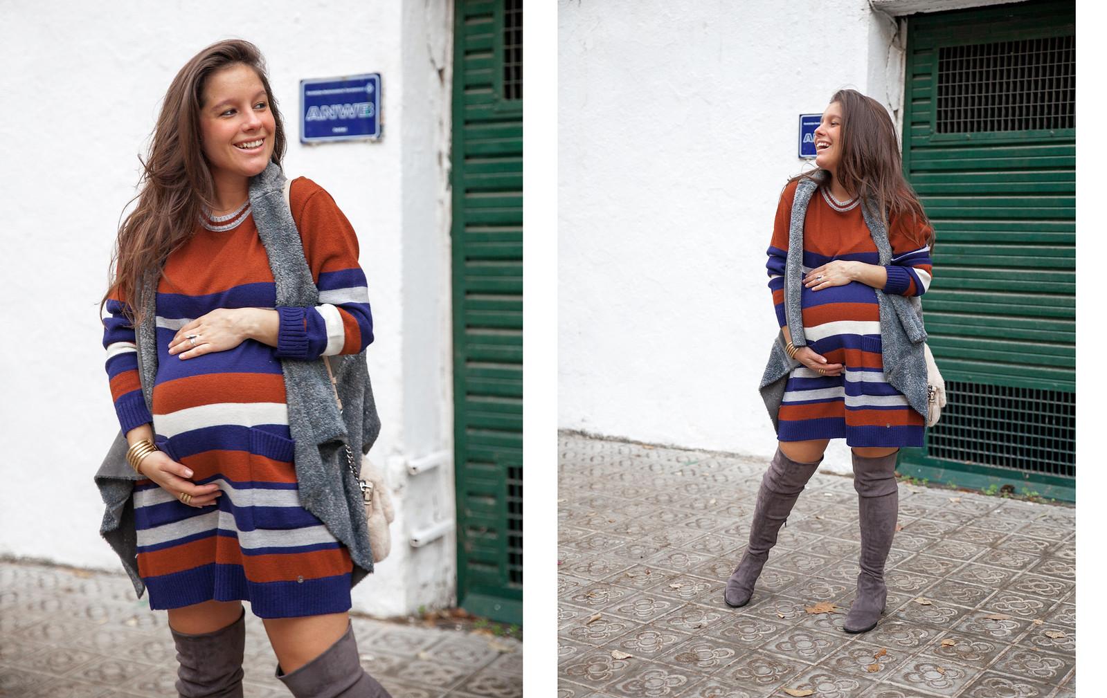 04_como_vestir_Vestido_rayas_punto_chaleco_look_embarazo_tercer_trimestre_theguestgirl_fashion_influencer_fashion_portugal_brand_ruga