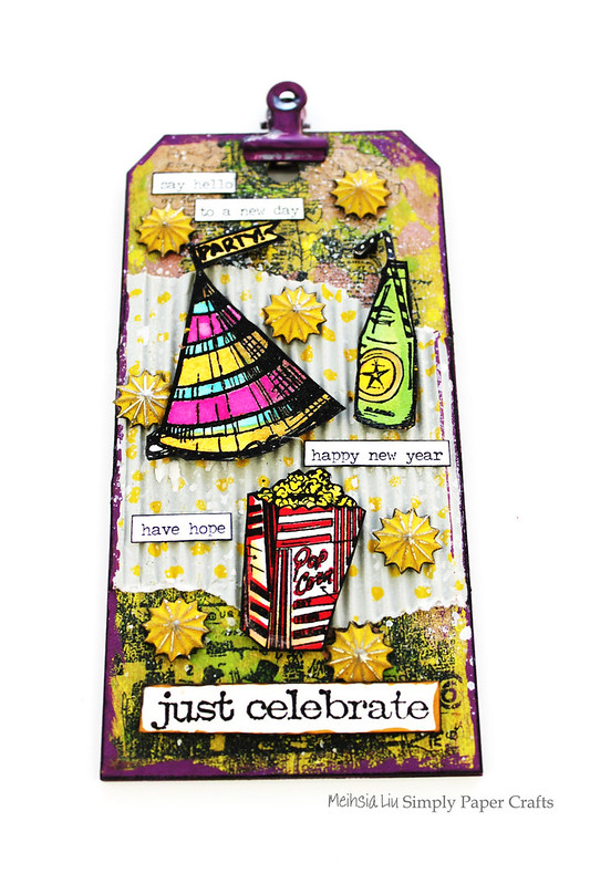 Meihsia Liu Simply Paper Crafts Mixed Media Tag New Year Party Simon Says Stamp Tim Holtz 1