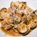 Seafood Pescatore - shrimp, scallops, clams, lobster, pomodoro sauce over linguine