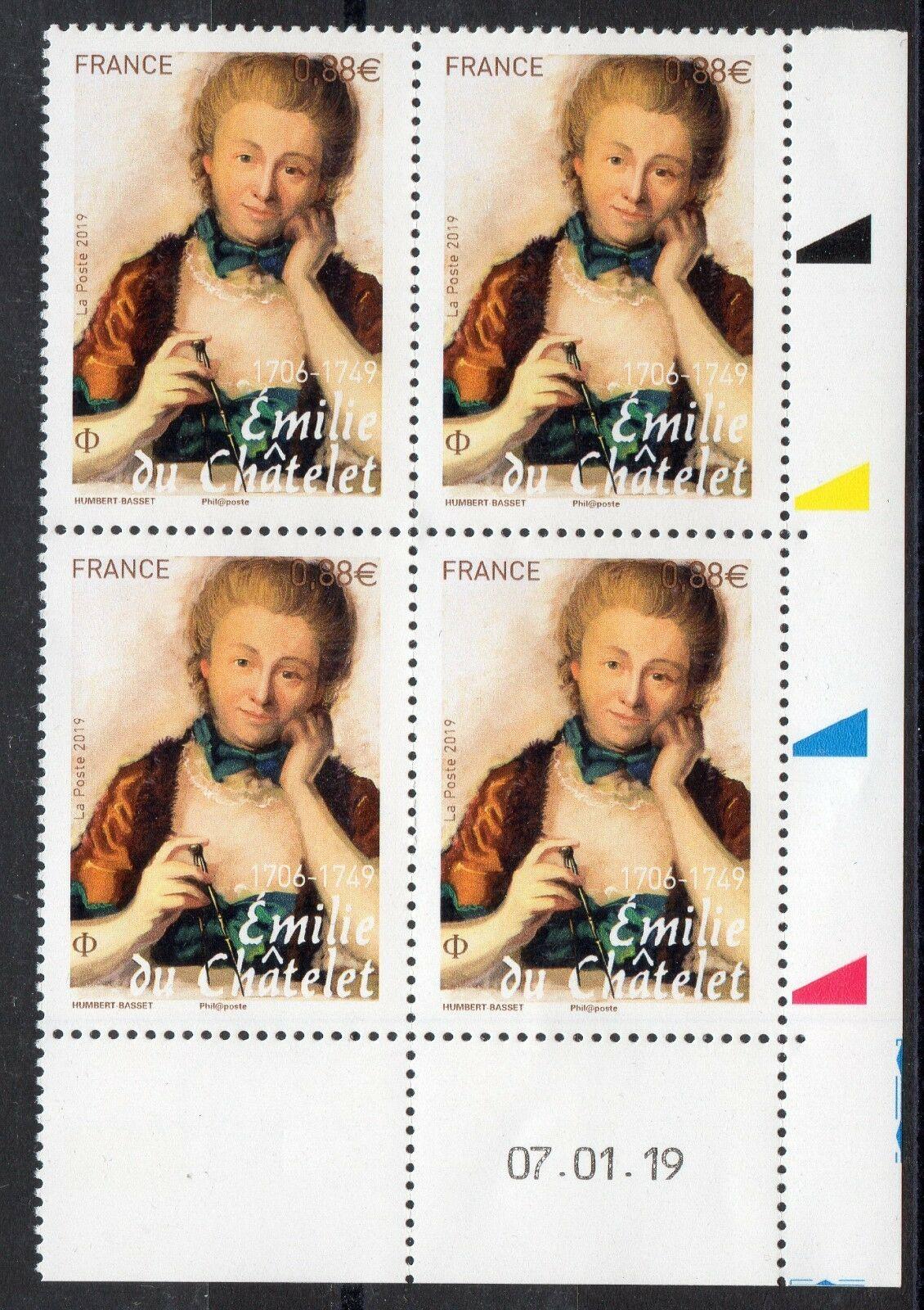France - Émilie du Châtelet (January 18, 2019) block of 4
