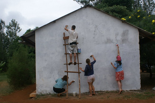 Myself and other volunteers painting a wall at the orphanage in Kenya (2012). Catherine Cottam: #VolunteerAbroadBecause It Will Shape You