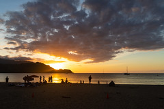 Princeville beach sunset Kauai Hawaii pano