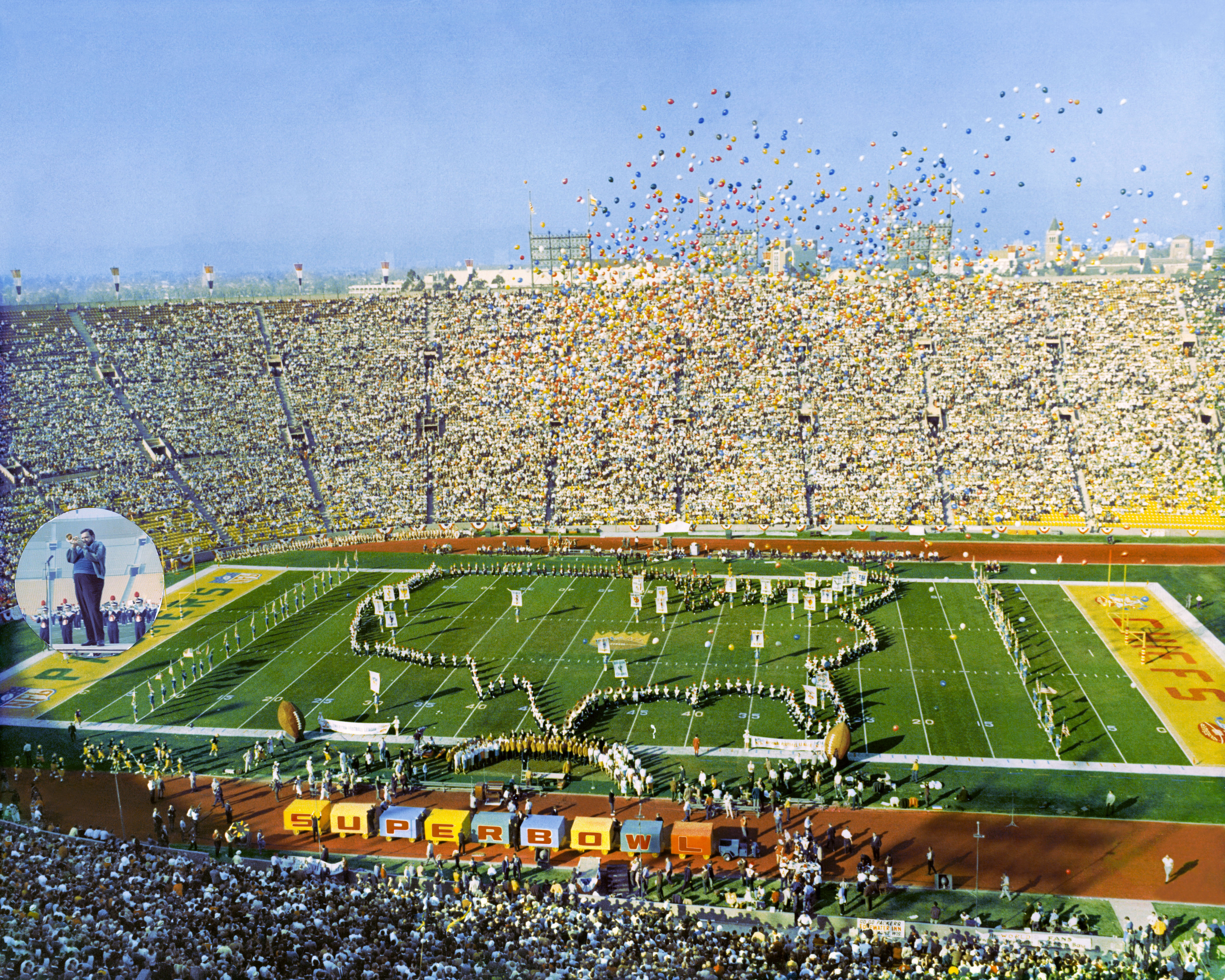 Super Bowl I at Los Angeles Coliseum on January 15, 1967, picturing University of Arizona Symphonic Marching Band & Grambling State University Marching Band, Al Hirt, Anaheim High School Drill Team and Flag Girls