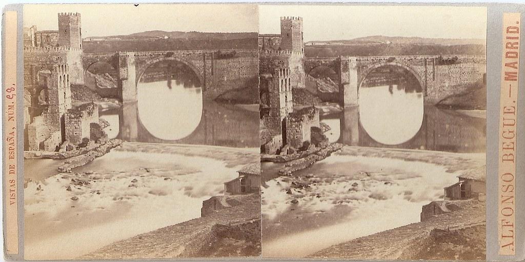Artificio de Juanelo hacia 1864. Fotografía estereoscópica de Alfonso Begue