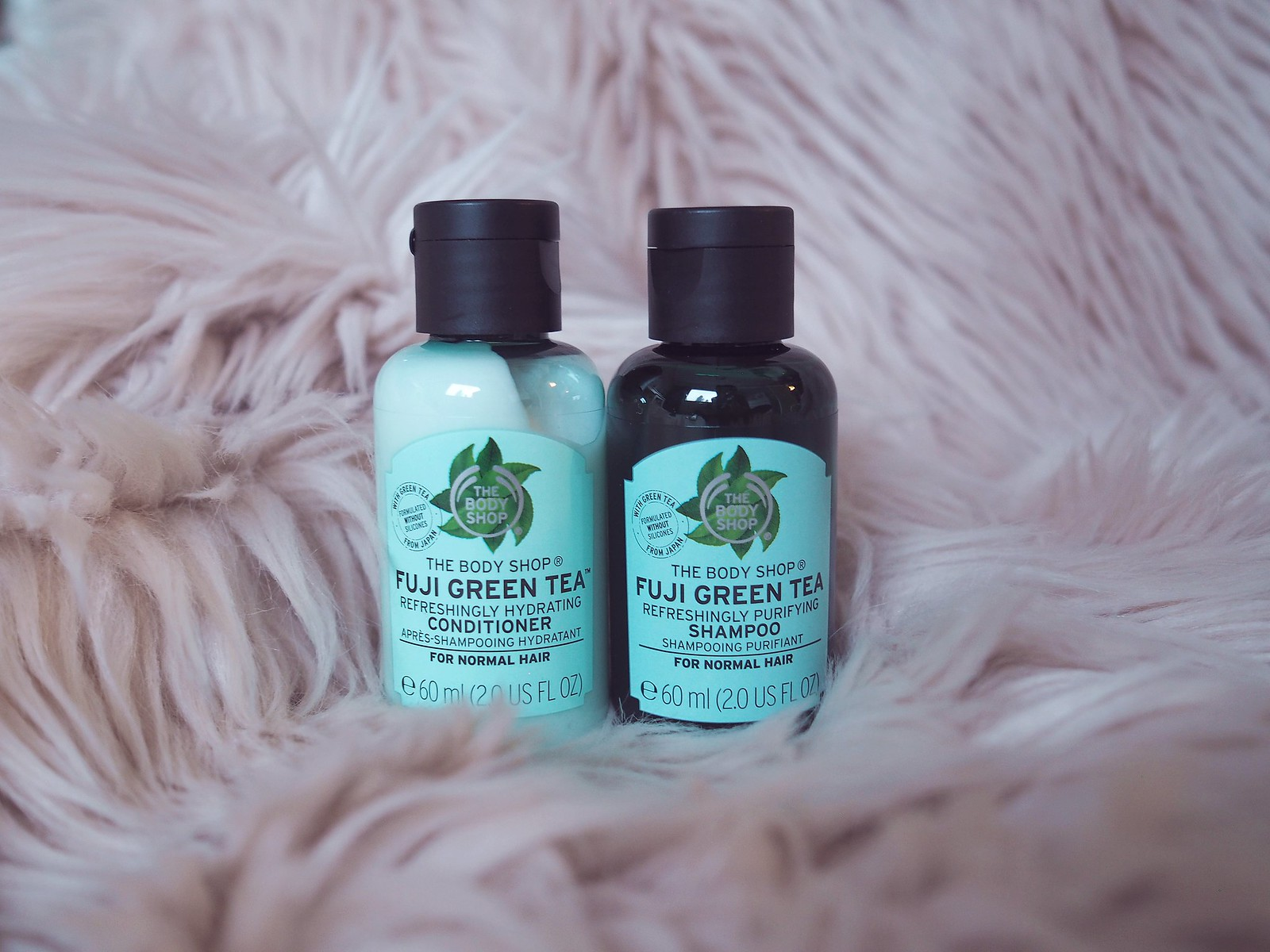 fuji green tea shampoo ja hoitoaine body shop