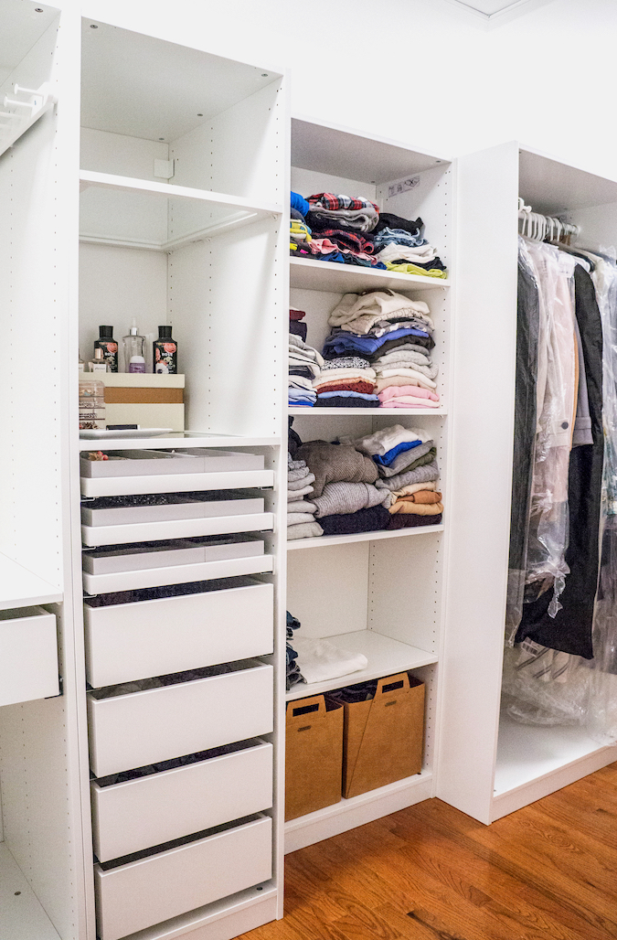 IKEA Pax wardrobe system for long and narrow small walk-in closet