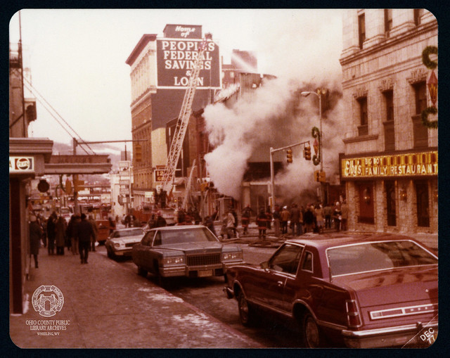 December 8, 1977 Fire at Corner of 12th & Market, Downtown Wheeling