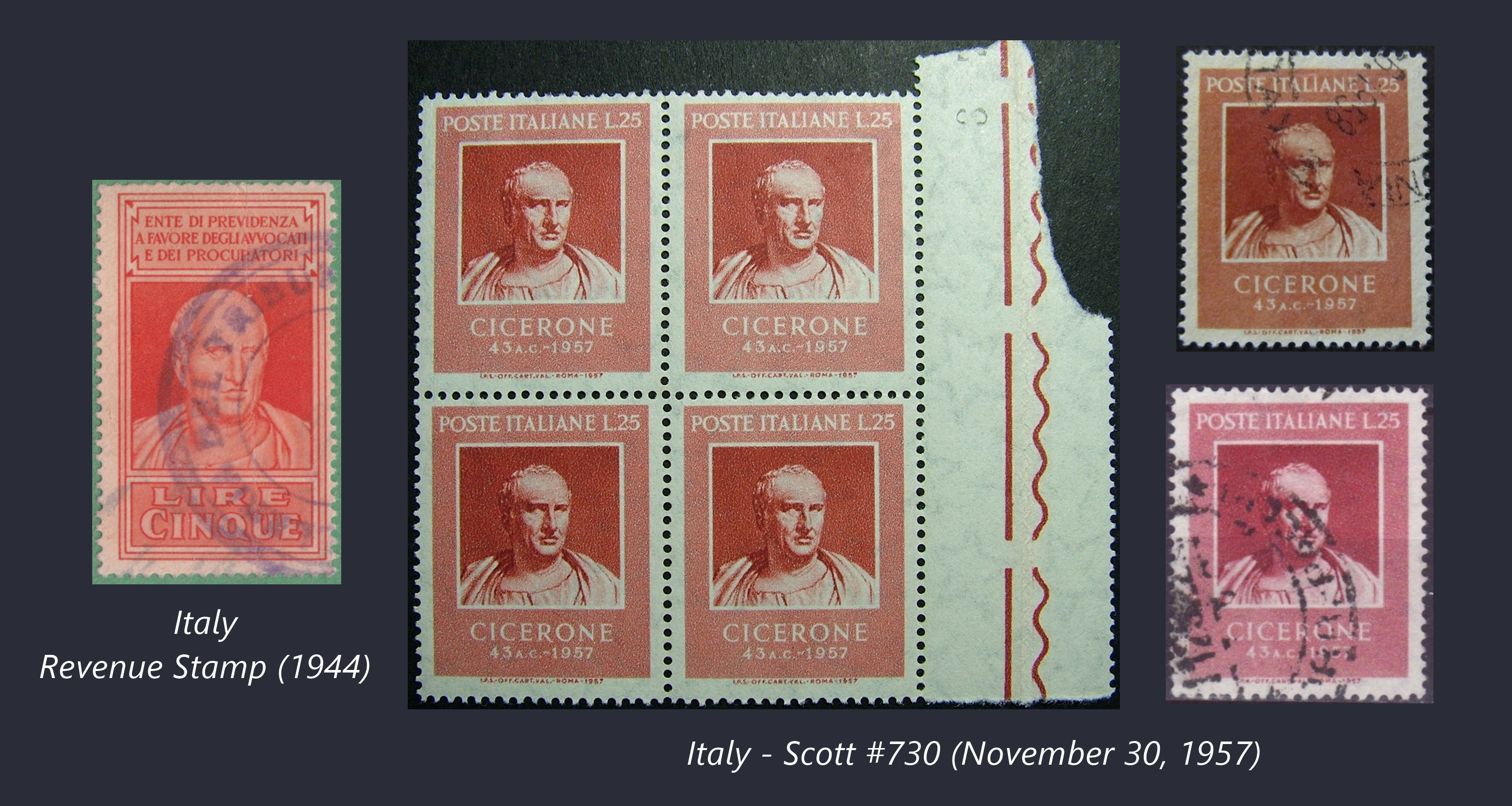 Stamps portraying Cicero