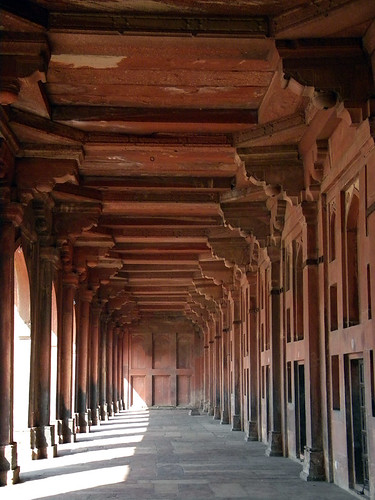 Columns lining a walkway in the mosque in Fatehpur Sikri, a town outside of Agra in India