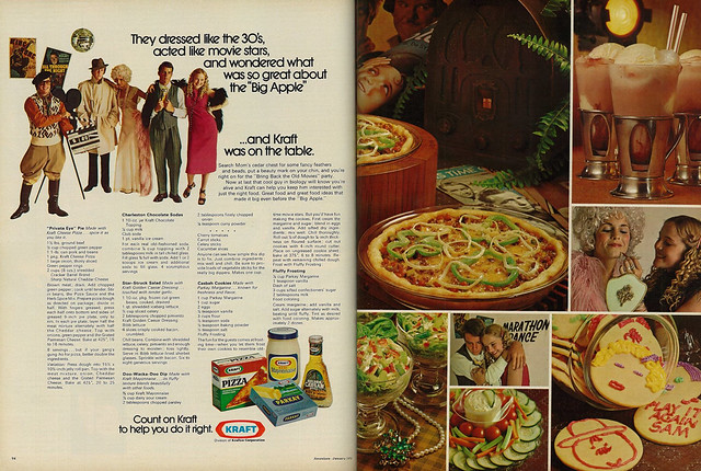 Photo:1973 Advert, Kraft Products & Recipes, Teens at Vintage 1930's Old-Movies Costume Party (2 pages) By classic_film