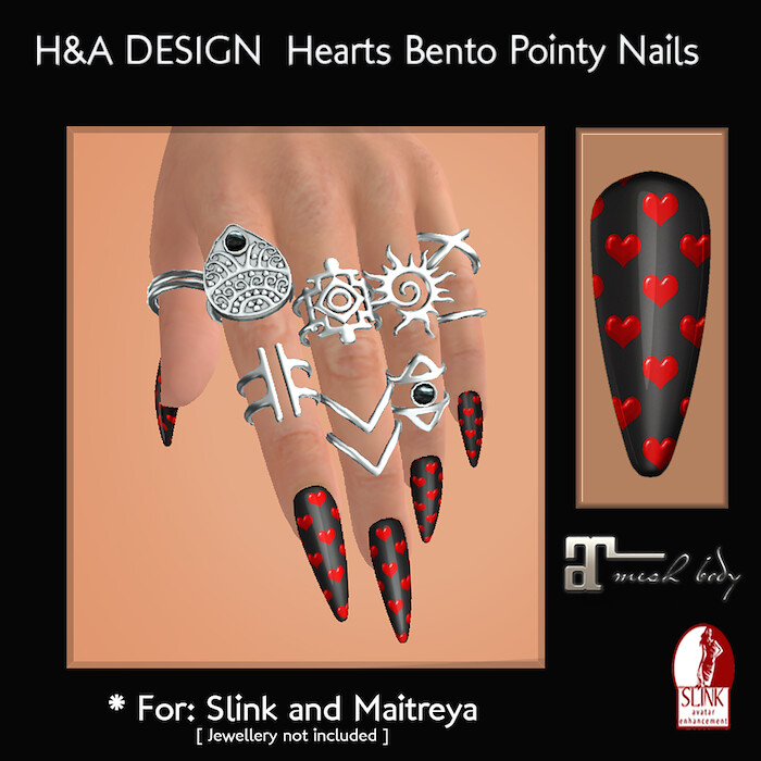 [H&A Designs]-Hearts Bento Pointy Nails - TeleportHub.com Live!