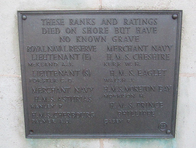 On Shore Navy Casualties Memorial. Liverpool