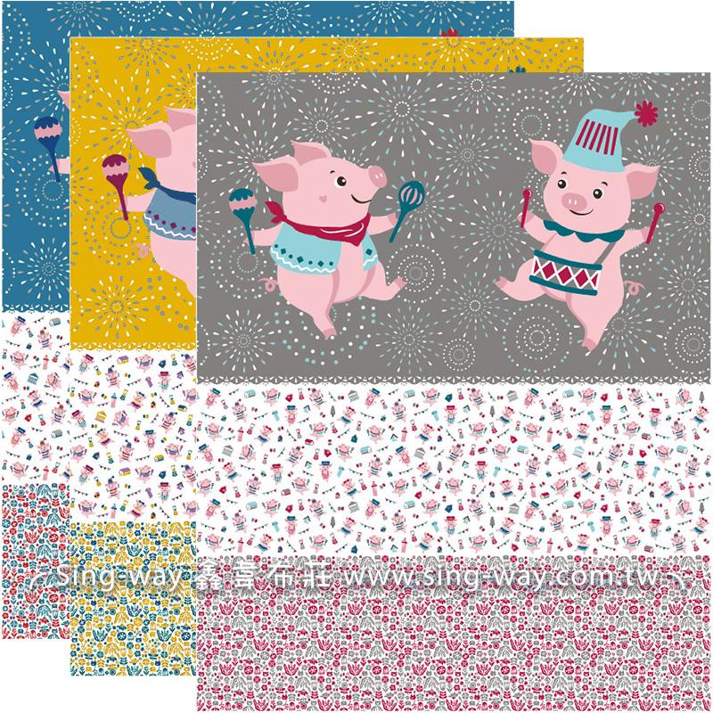 原-歡樂派對豬對圖(3尺一圖) 豬年 Pig 粉紅豬 嚴選豬肉 CF1990001