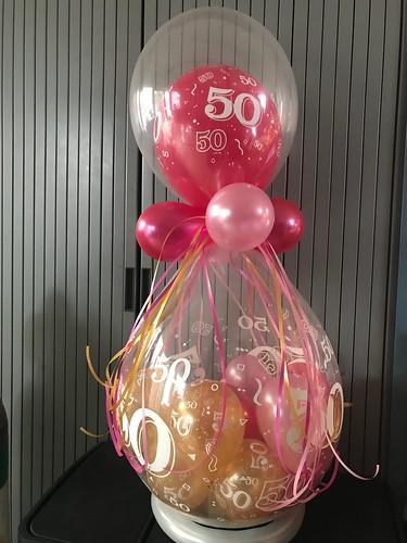 Kadoballon 50 Jaar met Ballon bovenop
