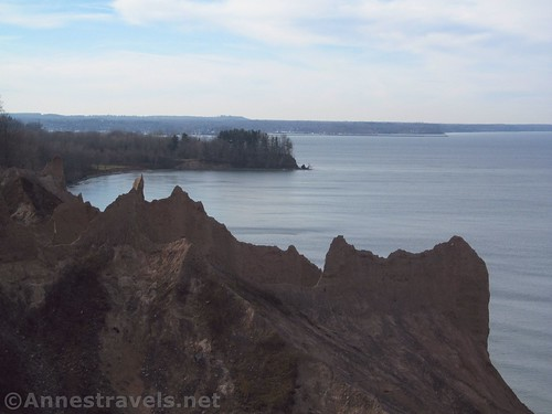 Looking over the bluffs to Sodus Bay at Chimney Bluffs State Park, New York
