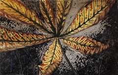 Chestnut leaf by Julie de Graag (1877-1924). Original from the Rijks Museum. Digitally enhanced by rawpixel.