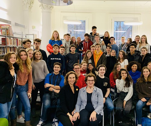 Zahava Kohn and Hephzibah Rudofsky with pupils at the French Lycee, London.  November 2018 | by Surviving The Holocaust