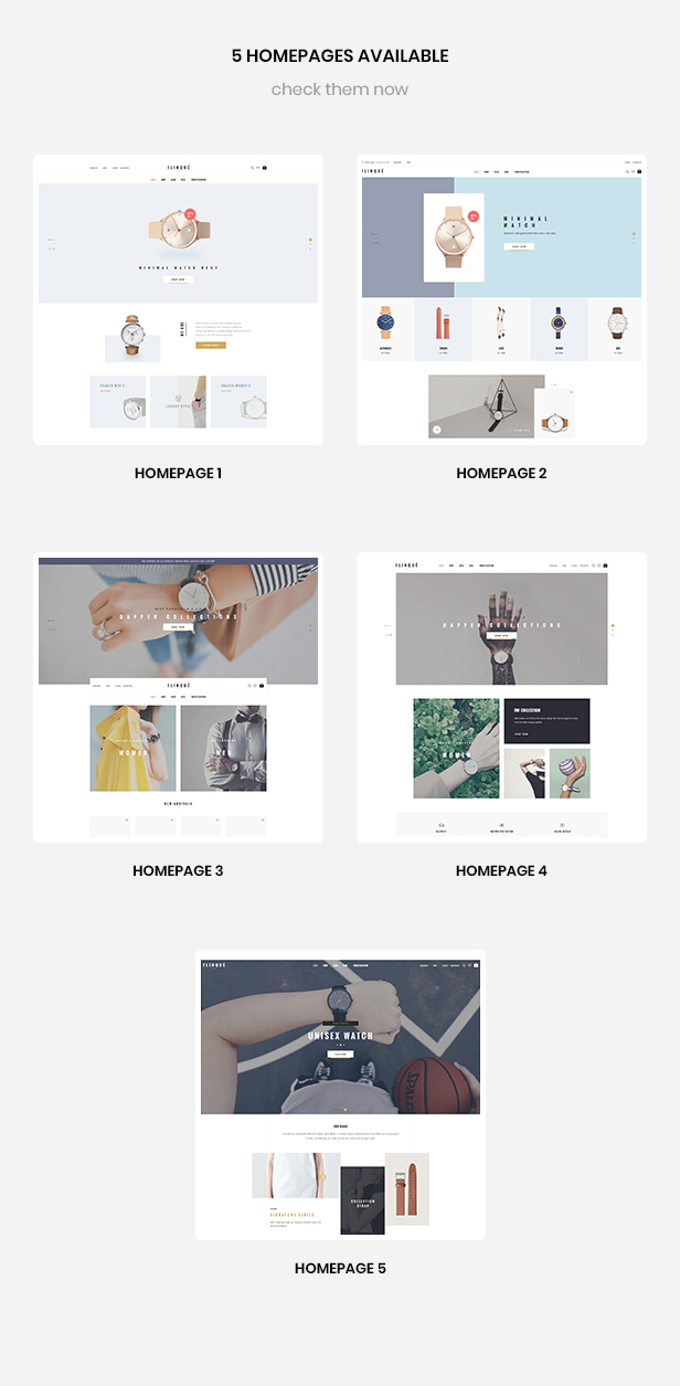 multiple homepages for fashion & Watch