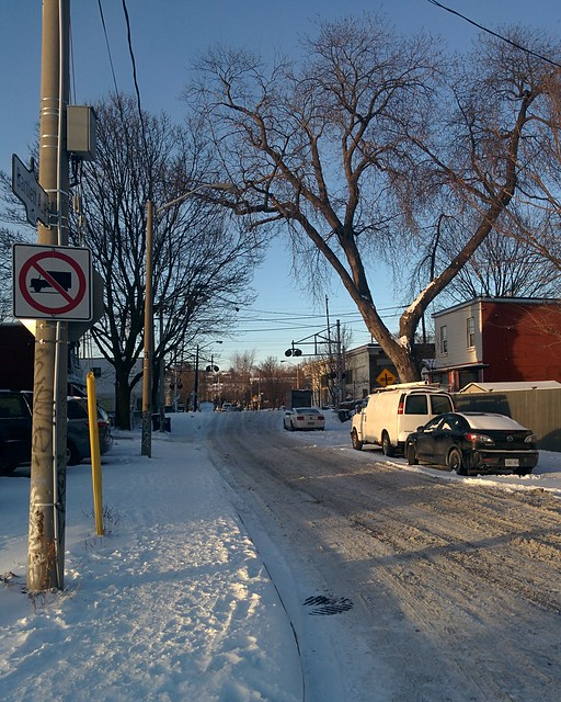 Looking north, Bartlett at Dupont #toronto #dovercourtvillage #winter #dupontstreet #bartlettavenue #white #blue
