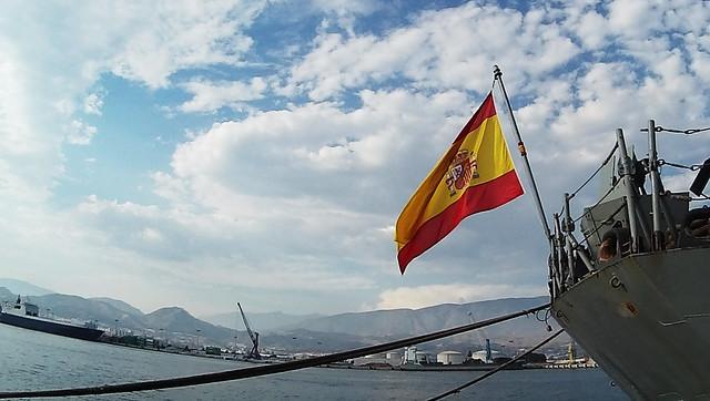 Bandera en la popa de la Numancia