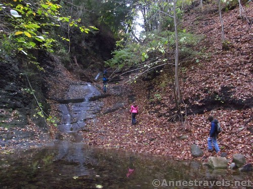 Scrambling up the First Falls in Barnes Creek Gully, Canandaigua, New York