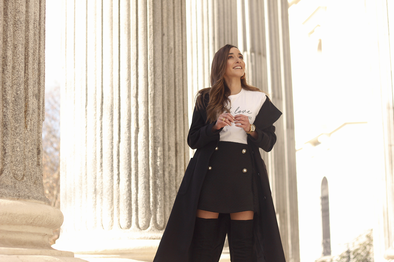 tweed skirt over the knee boots black trench coat street style outfit 201915