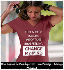 Free Speech Is More Important Than Feelings - Change My Mind Women's: Anvil Ladies' V-Neck T-Shirt. Independence Red.  | Loyal Nine Apparel