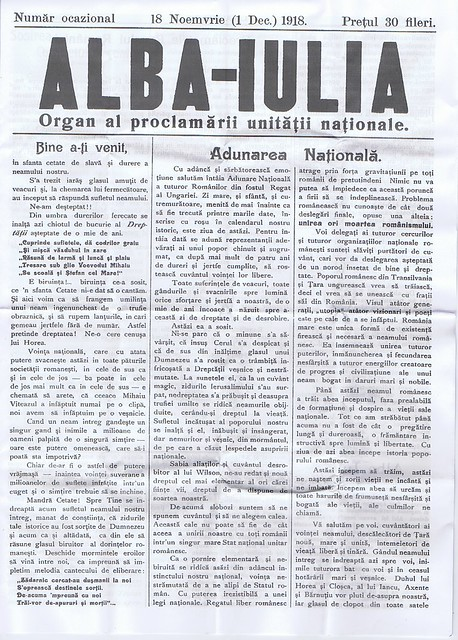 """Ziarul """"Alba-Iulia"""", organ al proclamării unității naționale"""