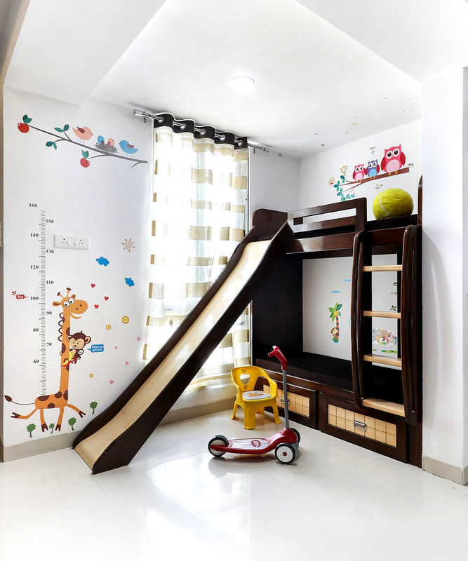Bunk bed with slider in a modern Indian apartment