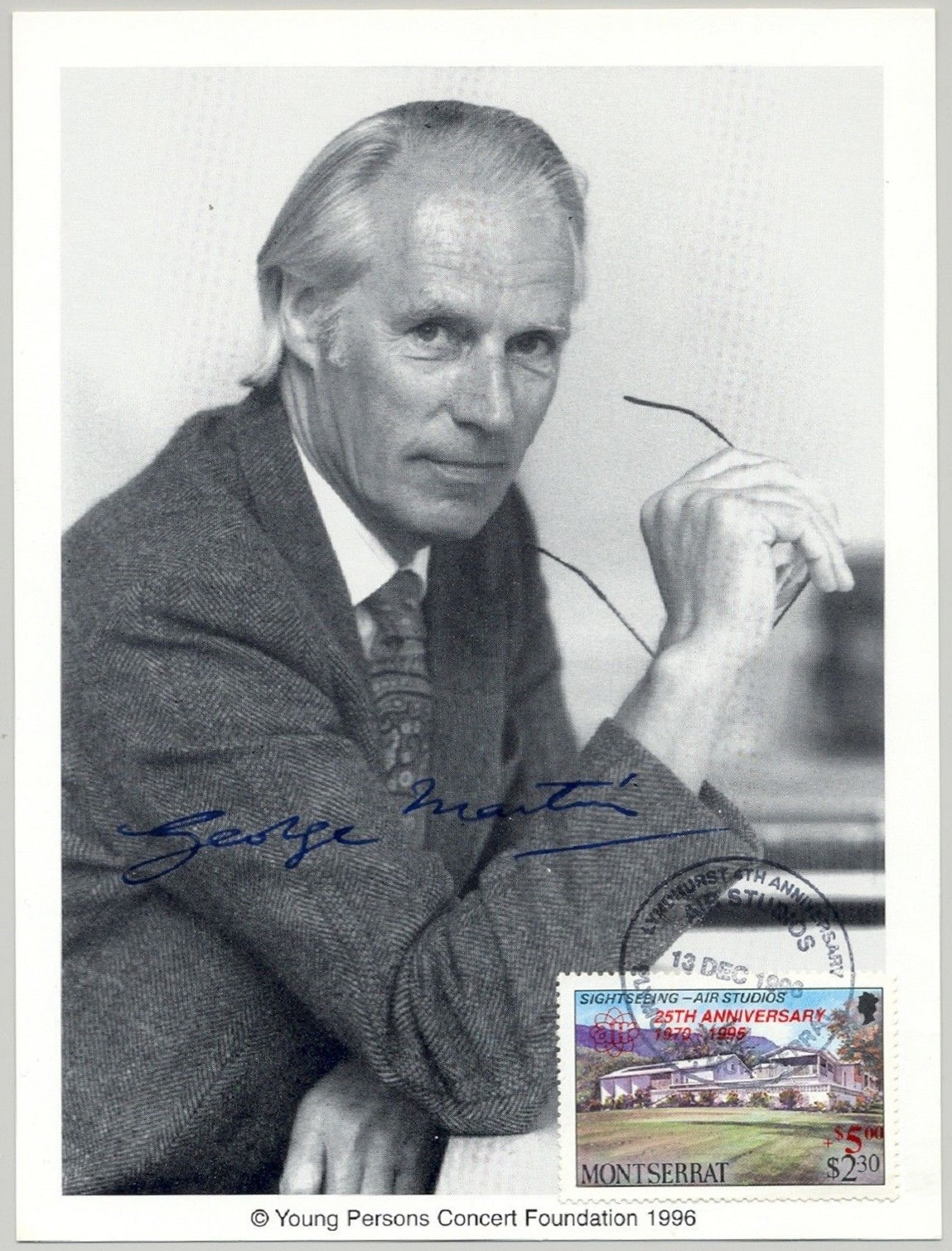 Montserrat - Scott #462 (1986) with unlisted (1995?) overprint on photograph picturing Sir George Martin.