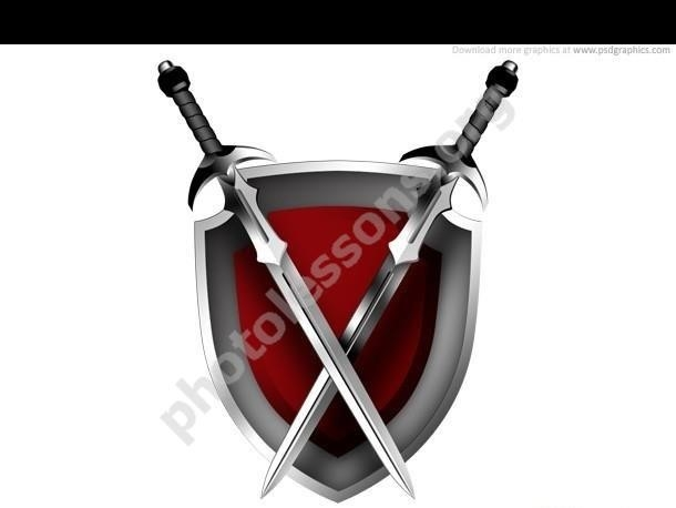 Shield and sword – free download PSD source for Photoshop