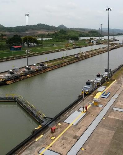 Die Lokomotiven, die die Schiffe durch den Kanal ziehen