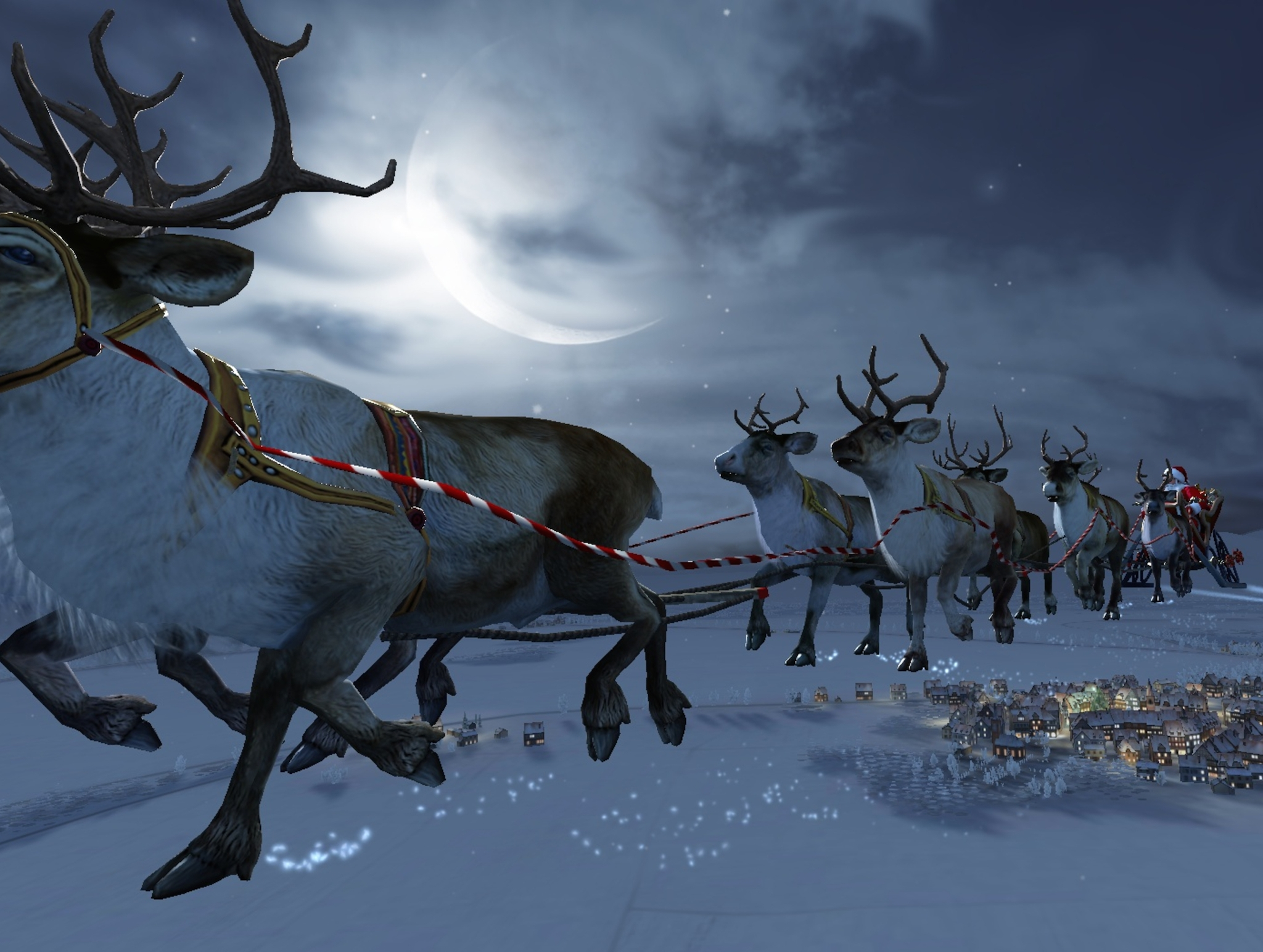 Rare image of Santa Claus in his sleigh, pulled by nine reindeer above an unidentified Scandinavian village on his annual Christmas Eve worldwide journey.