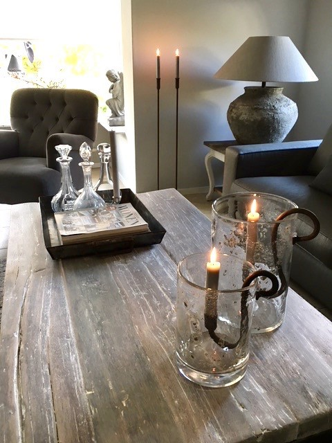 Wijntafel kruiklamp hoge vloerkandelaar windlicht bubbeltjesglas