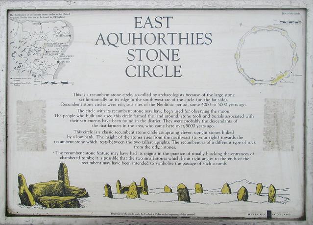 Aquhorthies Stone Circle info board