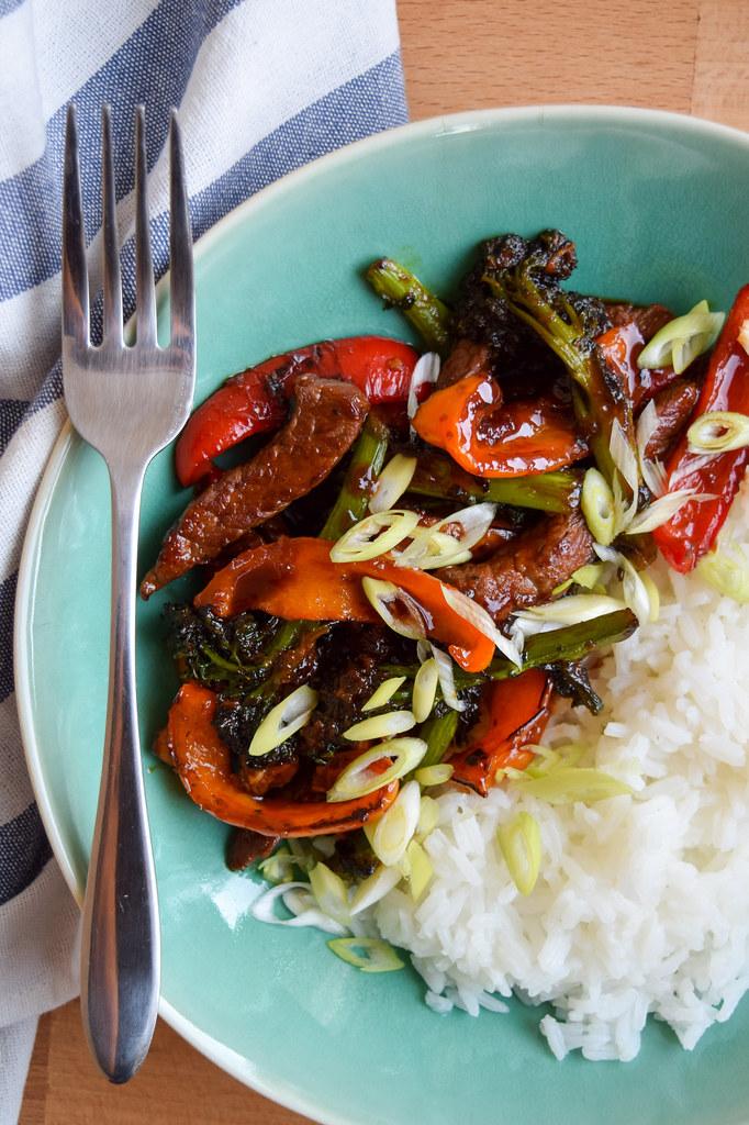 Super Saucy Korean Steak, Pepper & Broccoli Stir Fry with Jasmine Rice