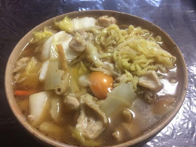 Chicken, Chinese cabbage and mushroom ramen