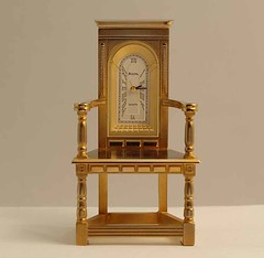 Bulova Miniature Caquetoire Chair Clock B0404 Solid Brass