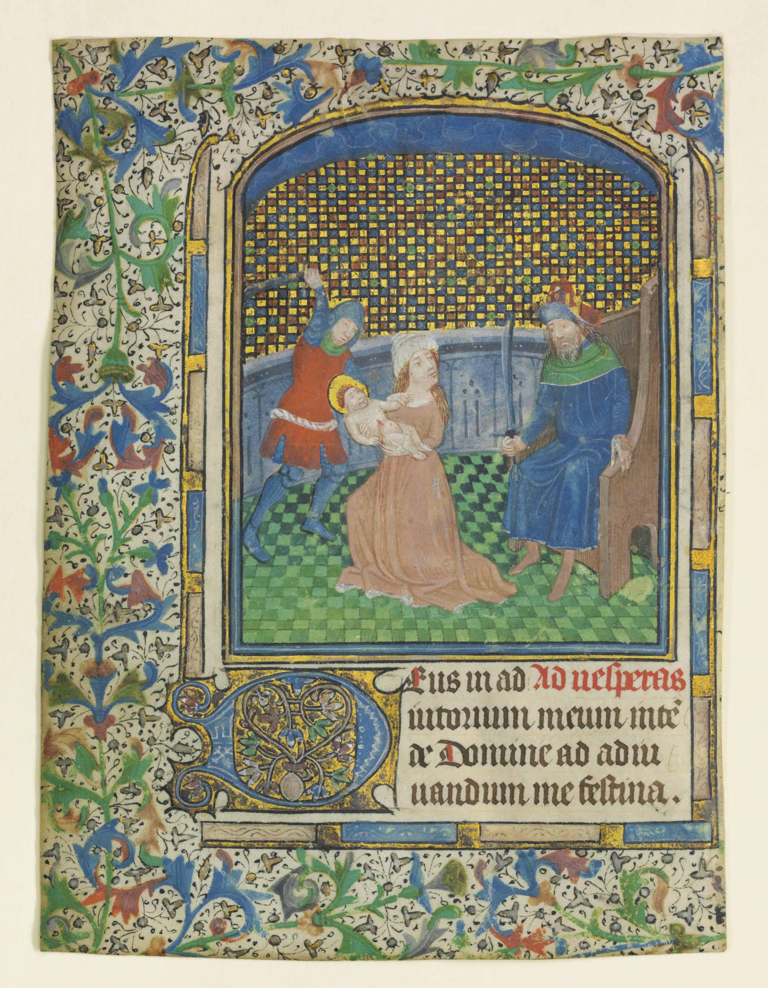 Massacre of the Innocents, miniature from a leaf of a Book of Hours